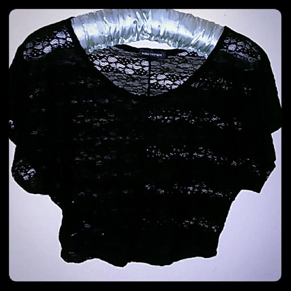 Body Central Sale >> Sale Body Central Black Lace Crop Top Hi Low